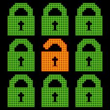 Free Online Web Security Concept Represented In 8-bit Pixel-art Padlo Stock Photography - 35283692