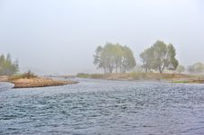 Free The Trees In Advection Fog And Yalu River Stock Photography - 35286892