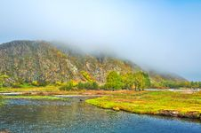 Free The Hill In Advection Fog And Yalu River Stock Photos - 35286923