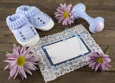 Free Blue Greeting Card With Shoes And Plaything Royalty Free Stock Photos - 35288408