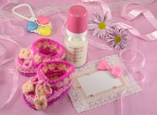 Free Pink Greeting Card With Milk Bottle And Shoes Stock Image - 35288571