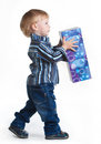 Free Little Boy Going With Big Box In His Hands Stock Image - 35297771