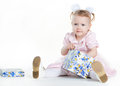Free Little Girl Opening The Present Royalty Free Stock Photography - 35297867