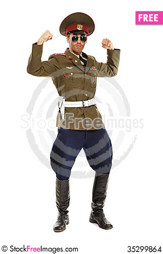 Free Portrait Of A Man Dressed As A Military Dictator. Isolated Stock Images - 35299864