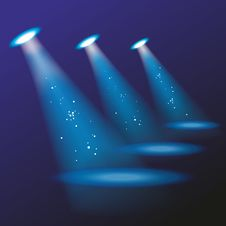 Free Blue Spotlights. Stock Images - 35290914