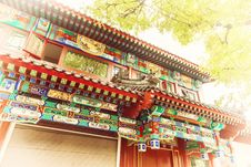 Free Chinese Traditional Construction Roof With Green Tree Leaves Stock Images - 35291084