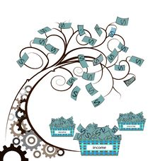 Free Money Tree With Gear Stock Photo - 35292380