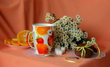 Free Chocolate Cake,  A Cup Of Coffee And Bouquet Of Daisies Royalty Free Stock Images - 35292569