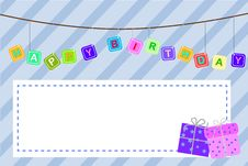 Free Template Baby Birthday Greeting Card Stock Images - 35296774