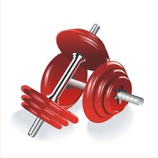 Free Two Red Dumbbells Over White Background Royalty Free Stock Photo - 35298065