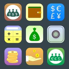Free Flat Icons, Monetary Topics For Web Royalty Free Stock Image - 35298666