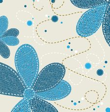 Free Jeans Texture With Flower Ornament Royalty Free Stock Photography - 35298827