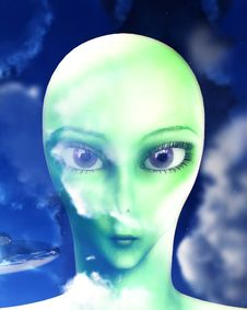 Free Alien Face 10 Royalty Free Stock Image - 3532156