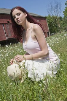 Posing In A Field Of Flowers Stock Photography
