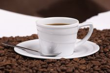Free Cup Coffee And Coffee Grain Royalty Free Stock Photos - 3534558