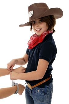 Free Cowgirl Sheriff At Work Royalty Free Stock Photos - 3534688