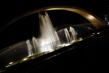 Fountain At Night At An Angle Royalty Free Stock Image