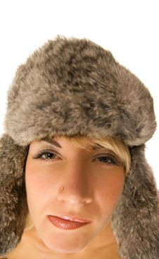 Free Funny Girl In Fur-cap Royalty Free Stock Images - 3535499