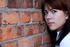 Free Lovely Girl Leaning On Bricks Royalty Free Stock Photography - 3537947