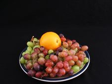 Orange And Grapes 4 Stock Photography