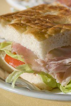 Ham Sandwich Macro Stock Photo