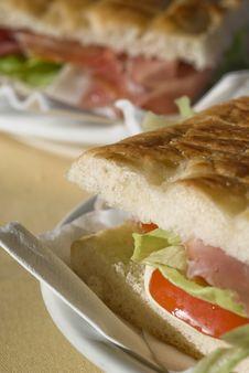 Ham Sandwich Macro Stock Images