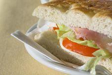 Ham Sandwich Macro Royalty Free Stock Photography