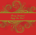 Free Vector Christmas Background, Green Pattern On Red Stock Photos - 35300103