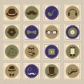 Free Hipster Retro Stamp Icon Set Royalty Free Stock Photography - 35306787