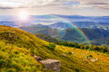 Free Light On Stone Mountain Slope With Forest Stock Photo - 35307210
