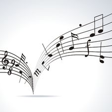 Music Notes On Staves. Royalty Free Stock Photos