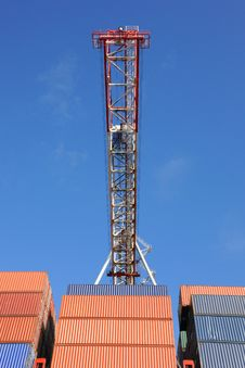 Free Box Crane And Containers Royalty Free Stock Image - 35302226