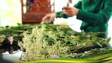 Florist Arranging Flower Bouquet Stock Image