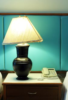 Table Lamp And Phone Royalty Free Stock Images