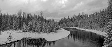 Free McDONALD CREEK PANORAMA IN BLACK AND WHITE Stock Photography - 35309682