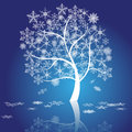Free Winter Tree With Snowflakes, Vector Stock Photo - 35317400
