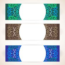 Colorful Floral Ornament Banners Stock Photo