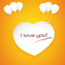 Paper Heart Banner With Balloons. Royalty Free Stock Photography