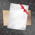 Free Paper Card With Red Bow. Vector Illustration. Royalty Free Stock Images - 35329009