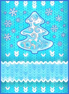Free Christmas Card With Fir Tree And Snowflakes Stock Images - 35321814