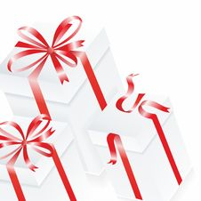 White Gift Box. 3D Image. Vector. Royalty Free Stock Photos