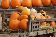 Free Pumpkins In Old Wooden Cart. Stock Photos - 35323453