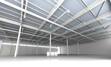 New Modern Empty Storehouse. Huge Light Storehouse Stock Images