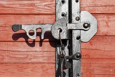 Closeup Of A Vintage Wooden Latch Stock Images