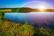 Free Mountain Lake Near Forest Stock Photos - 35327913