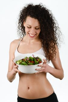 Beautiful Young Mixed Woman With Salad, Isolated On White Stock Photos