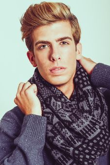 Free Portrait Of Good Looking Blonde Man Wearing A Scarf Stock Image - 35333871