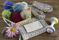 Free Blue Greeting Card With Knitting Things Stock Image - 35341551