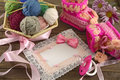 Free Pink Greeting Card With Baby Knitting Things Royalty Free Stock Image - 35341856