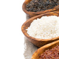 Free Wooden Bowls With Uncooked Rice, Selective Focus, Close-up Royalty Free Stock Photo - 35345525
